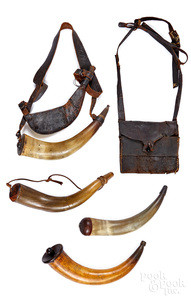 Four powder horns, 19th c.