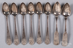 Six Philadelphia coin silver eagle back teaspoons