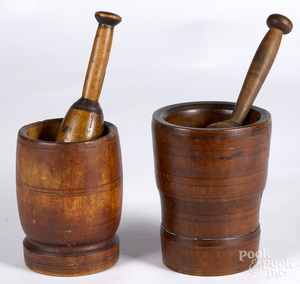 Two turned mortar and pestles, 18th/19th c.