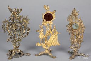 Three brass watch hutches, 19th c.