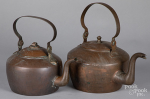 Two American copper kettles, 19th c.