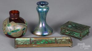 Tiffany Studios bronze and slag glass pen tray