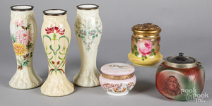 Three Handelware humidors, together with vases.
