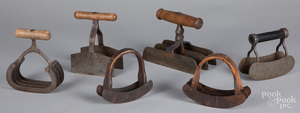 Six early iron and wood food choppers.
