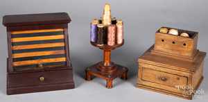 Two sewing boxes fitted with sewing supplies