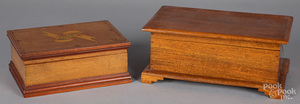 Painted sewing box, together with a mahogany box