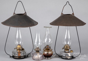 Two hanging lamps with tin shades, etc