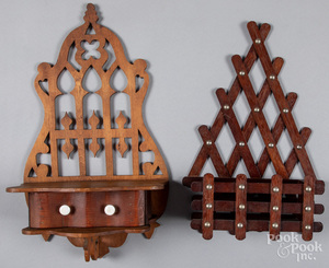 Hanging shelf and wall pocket, early 20th c.