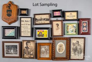 Small framed photos, prints, reward of merit, etc