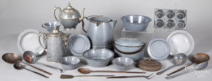 Collection of grey graniteware, early 20th c.
