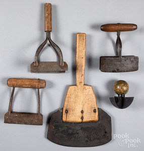 Five early iron and wood food choppers.