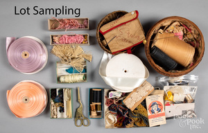 Large group of sewing supplies and accessories.