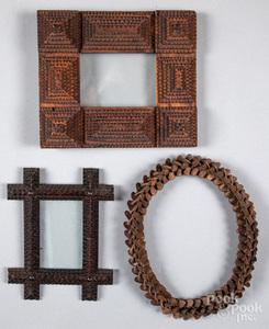 Three tramp art frames, ca. 1900