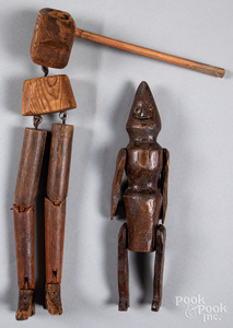 Two carved and articulated figures, ca. 1900