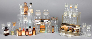Collection of glass bottles.