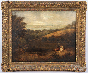 Continental oil on canvas landscape, early 19th c