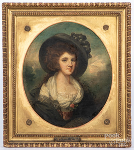 English oil on canvas portrait of Mrs. Blaksley