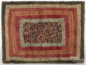 Hooked concentric block rug, early 20th c.