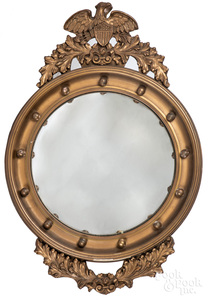 Giltwood convex mirror, early 20th c.