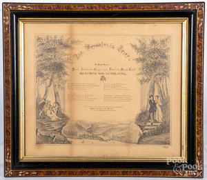Philadelphia pencil fraktur marriage certificate