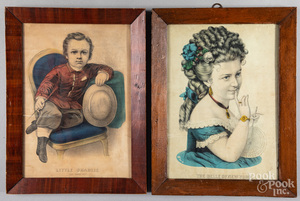 Six color lithographs, several by N. Currier.