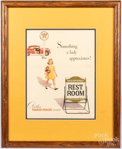 Ten framed works, advertisements, photographs, et