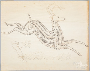 Pen and ink calligraphy of a leaping stag, 19th c
