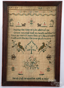 English silk on linen sampler