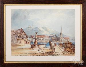 Attributed to Thomas Girtin, watercolor cityscene