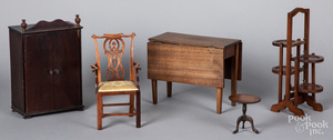 Five pieces of miniature furniture
