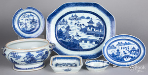Chinese export blue and white porcelain, 19th c.