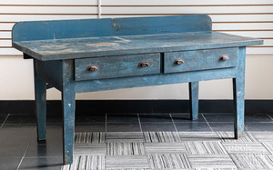 Painted pine workbench, late 19th c.