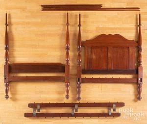 Sheraton cherry tall post bed, 19th c.,