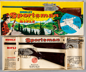 Boxed Hubley Sportsman cap gun rifle, with scope