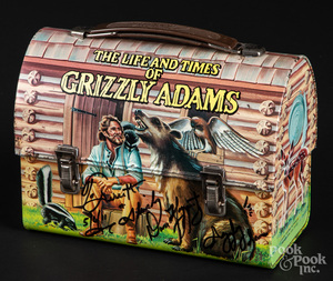 Signed Dan Haggerty Grizzly Adams tin lunch box