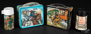 Two Aladdin tin western lunch boxes