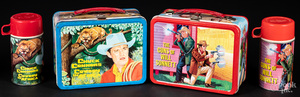 Two western theme tin lunch boxes