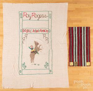 Roy Rogers wool saddle blanket, with original tag