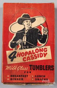Set of four Hopalong Cassidy milk glass tumblers