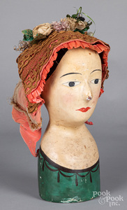 Papier-mâché hat or wig stand, 19th c.
