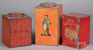 Three red painted tins, late 19th c.