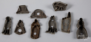 Figural tin cookie cutters, 19th c.