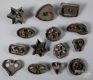 Group of tin cookie cutters, 19th c.