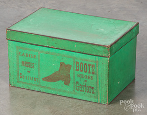 Green Boots, Shoes and Gaiters box, late 19th c.