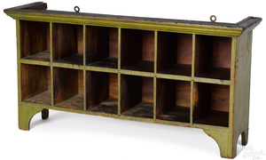 Painted pine table top cabinet, 19th c.
