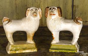 Pair of Pennsylvania chalkware spaniels, 19th c.