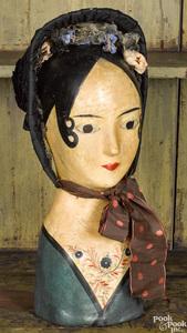 Papier-mâché wig or hat stand, 19th c.