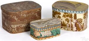 Three wallpaper hat boxes, 19th c.