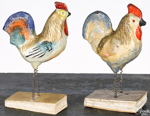 Two rooster pipsqueak toys, 19th c.