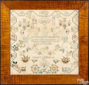 Bold silk on linen needlework dated 1827